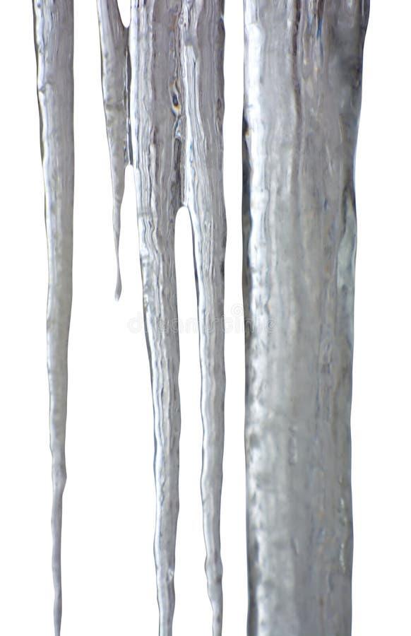 Foto de carámbanos transparentes en fondo borroso foto de archivo libre de regalías