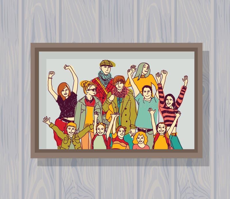 Foto de color feliz grande del grupo de la familia en la pared ilustración del vector