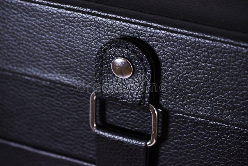 Foto de couro preta do close-up da caixa imagens de stock royalty free