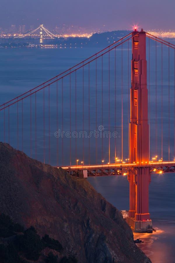 Foto de duas pontes | Golden Gate e baía foto de stock royalty free