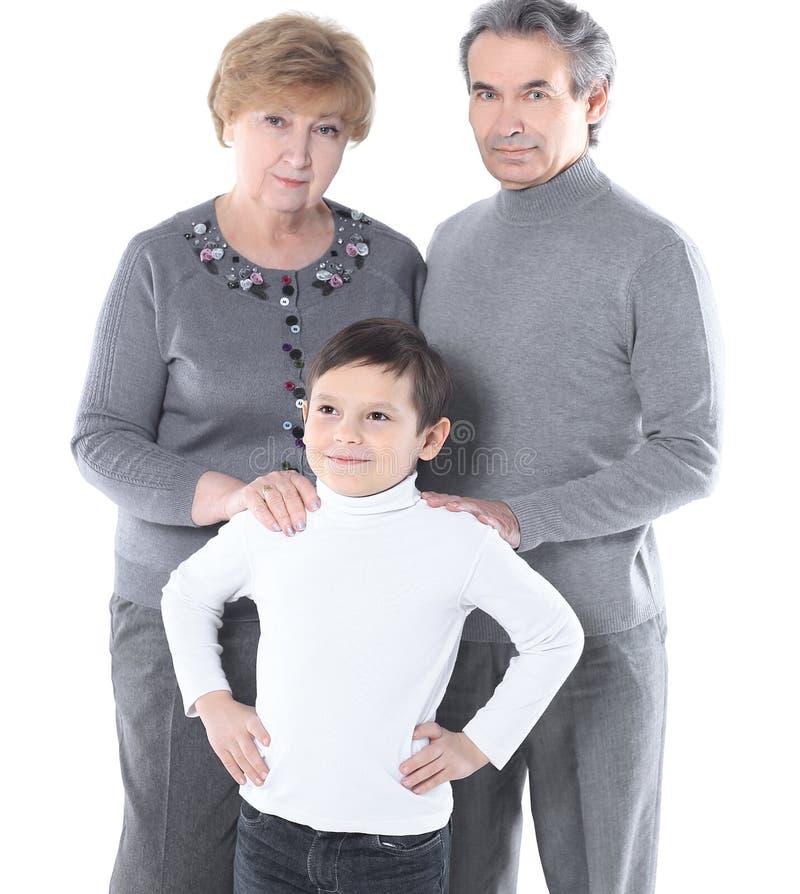 Foto de família do vovô da avó e do neto Isolado no fundo branco foto de stock royalty free