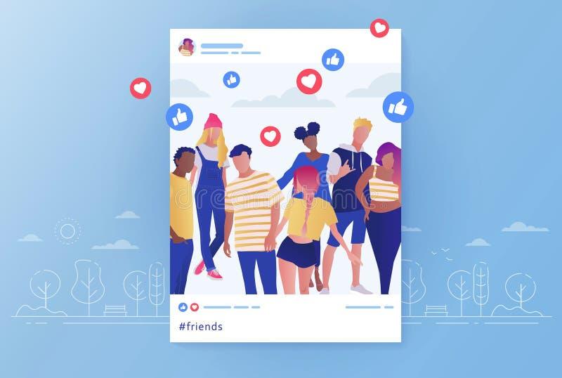 Foto de grupo de amigos publicada nas redes sociais e comentários e curtidas para a ilustração de vetor de desenho gráfico. ilustração stock