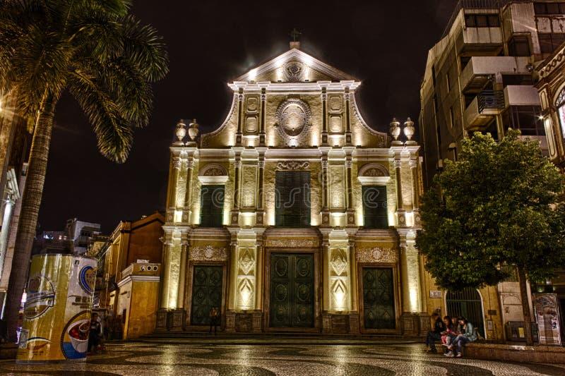 Foto de HDR de la iglesia en la noche, Macao del St. Dominics foto de archivo libre de regalías