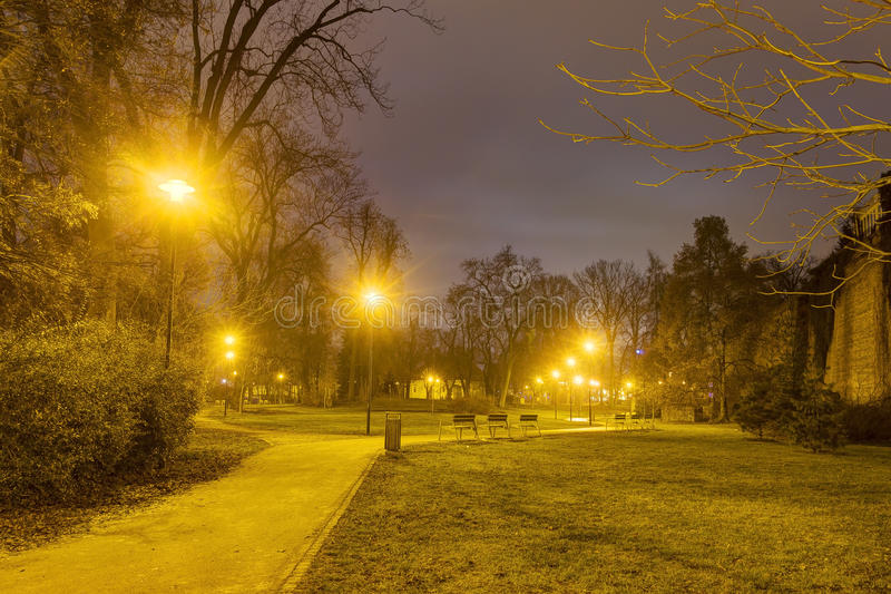 Download Foto De HDR Del Parque De La Ciudad De Olomouc En Invierno Sin Nieve En La Noche, República Checa Imagen de archivo - Imagen de checo, golden: 64202395