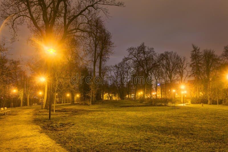 Download Foto De HDR Del Parque De La Ciudad De Olomouc En Invierno Sin Nieve En La Noche, República Checa Foto de archivo - Imagen de postes, brillo: 64202436