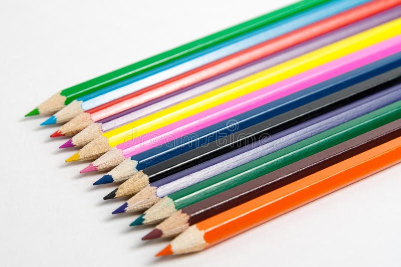 Foto de lápices coloreados previstos imagen de archivo