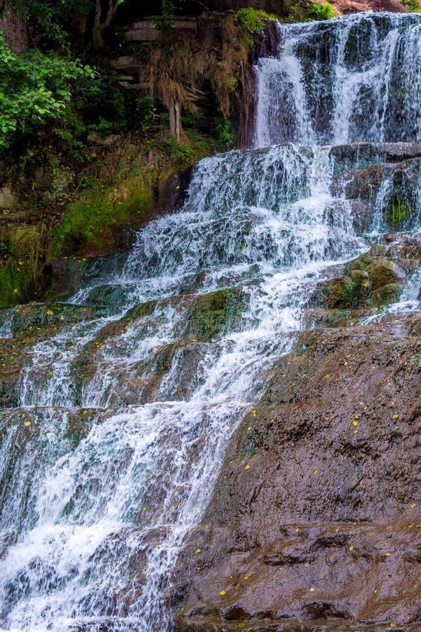 Foto de la alta cascada en las montañas fotografía de archivo libre de regalías