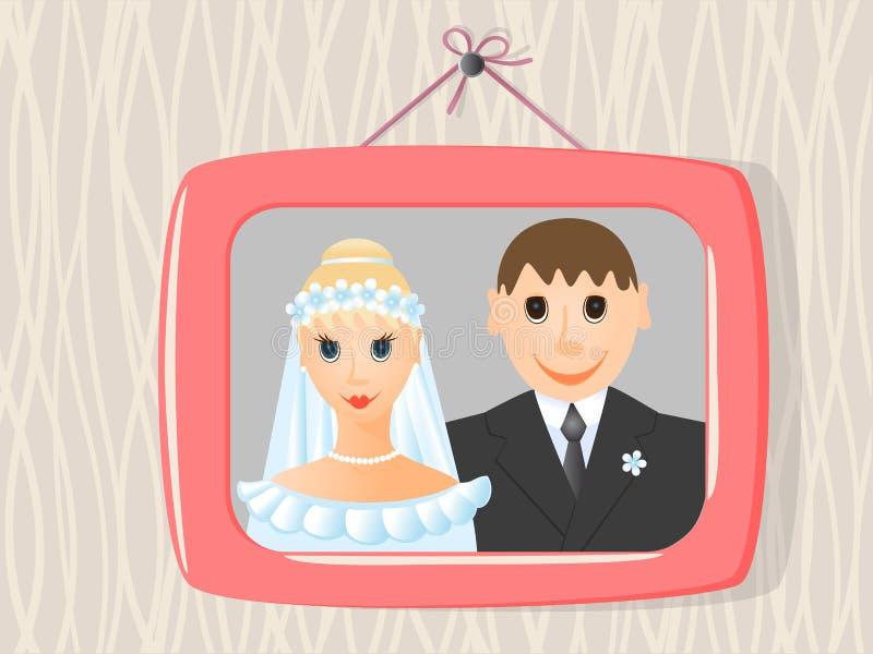 Foto de la boda en marco en   stock de ilustración