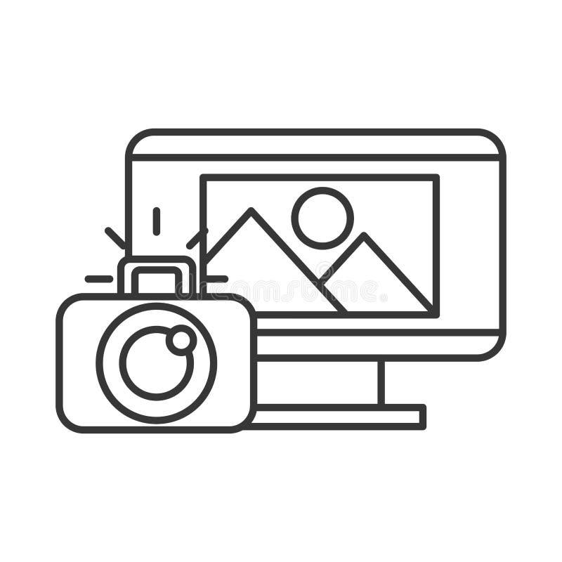 Foto de la cámara fotográfica de la pantalla de ordenador ilustración del vector