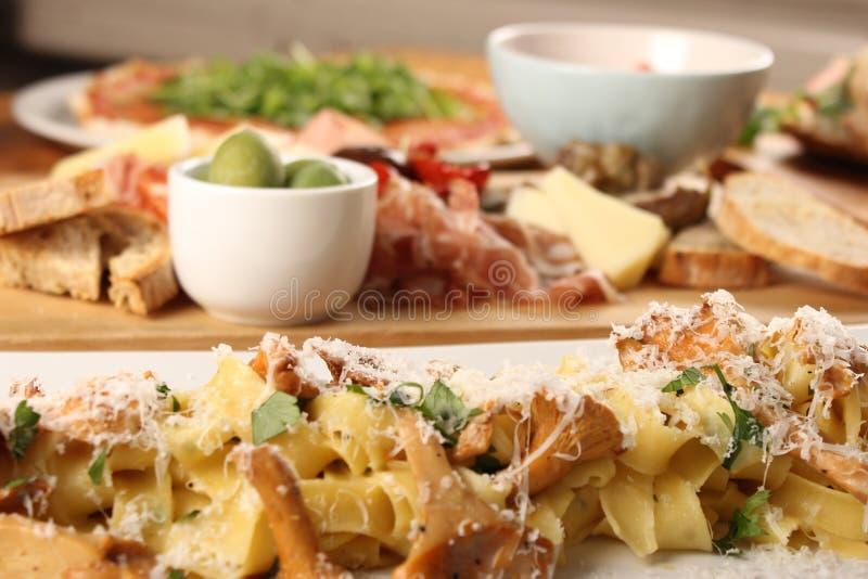 Foto de la cena italiana foto de archivo libre de regalías