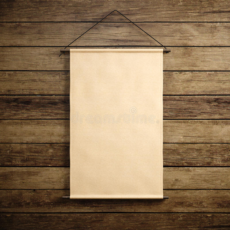 Foto de la ejecución en blanco de la lona del vintage del arte en el fondo de madera Maqueta vertical 3d rinden imagen de archivo libre de regalías