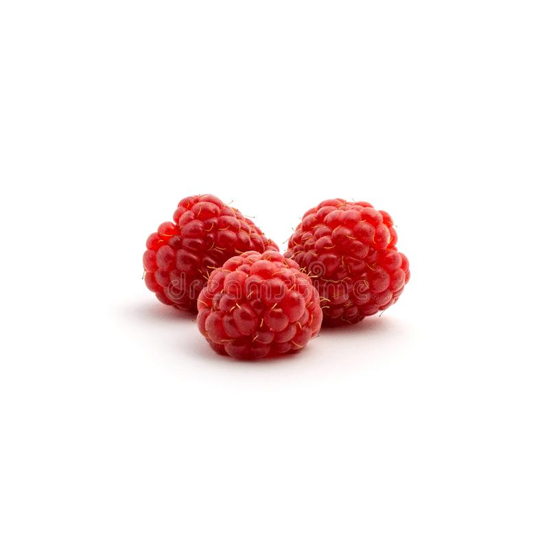 Foto de la frambuesa roja fresca aislada en el fondo blanco foto de archivo