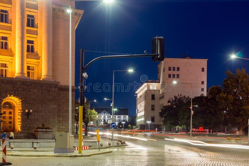 Foto de la noche del edificio del búlgaro National Bank en la ciudad de Sofía, Bulgaria foto de archivo libre de regalías
