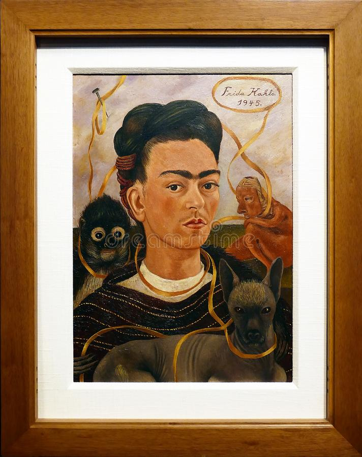 Foto de la pintura original 'autorretrato con el pequeño mono 'por Frida Kahlo imagen de archivo