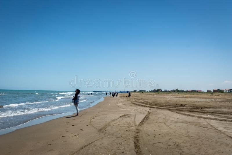 Foto de la playa de la playa del mar Caspio en la parte norteña de Irán fotografía de archivo libre de regalías