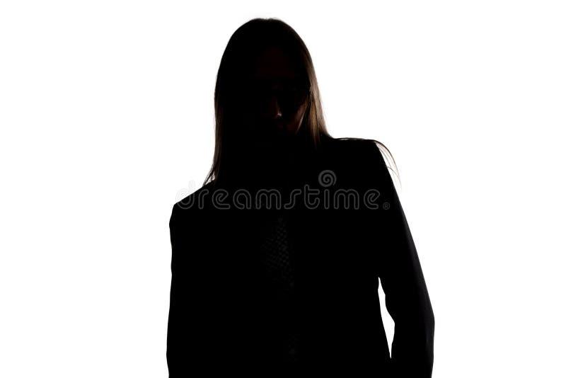Foto de la silueta de la mujer que se inclina a la derecha imagenes de archivo