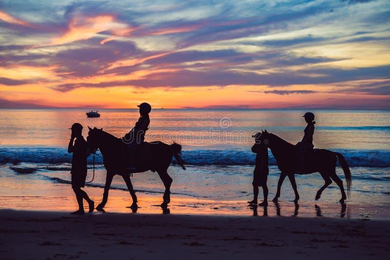 Foto de la silueta del montar a caballo en el tiempo de igualación de la puesta del sol, estilo dramático fotografía de archivo libre de regalías