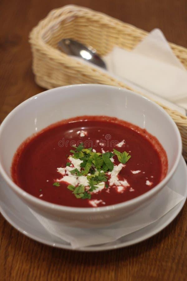Foto de la sopa poner crema con un queso de la remolacha y de cabra fotografía de archivo libre de regalías