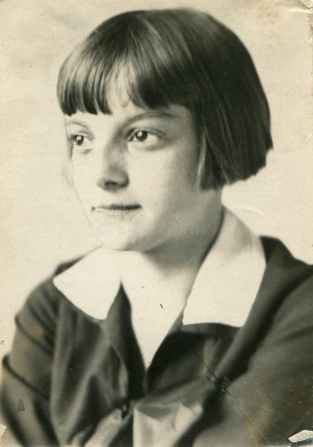 Foto de la vendimia de la niña foto de archivo