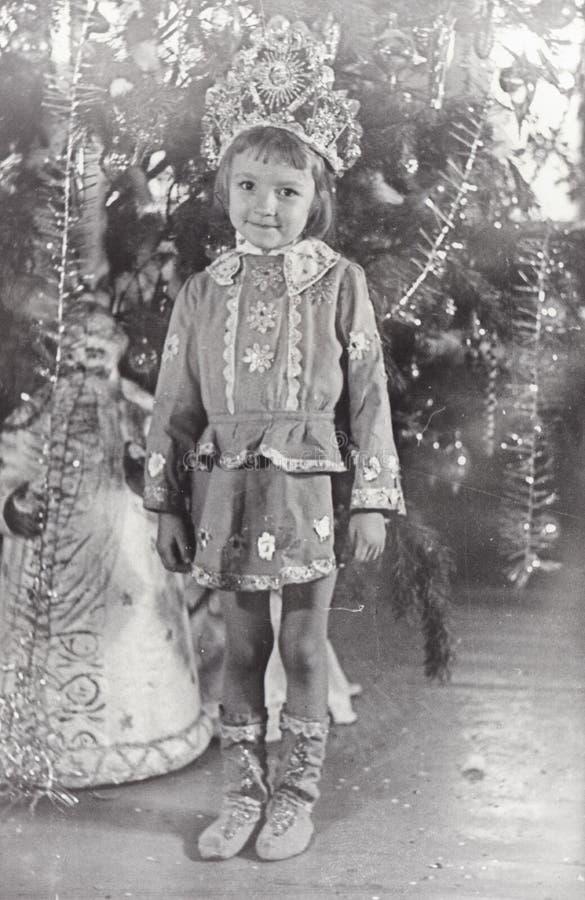 Foto de la vendimia de la niña Partido de la Navidad y del Año Nuevo fotografía de archivo