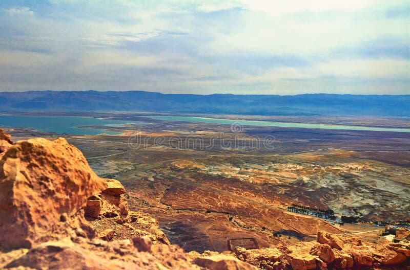 Foto de la vista del mar muerto foto de archivo