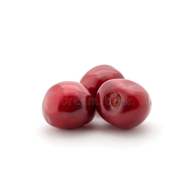 Foto de las cerezas rojas aisladas en el fondo blanco fotos de archivo
