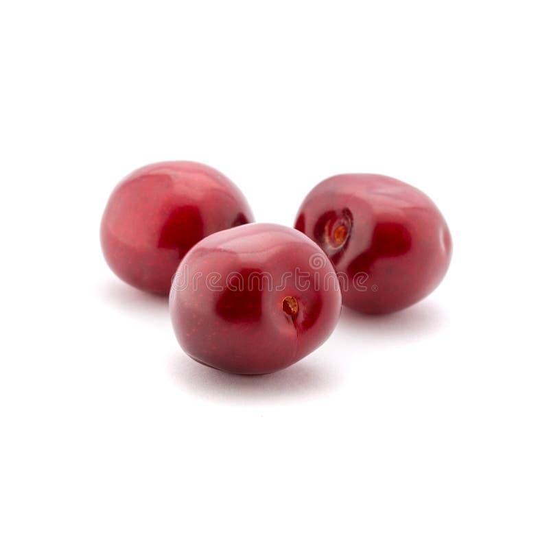 Foto de las cerezas rojas aisladas en el fondo blanco foto de archivo