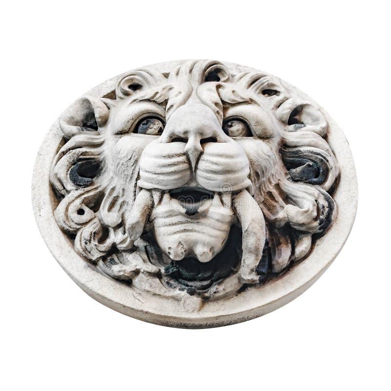 Foto de Lion Medallion Stone Ornament Isolated fotos de stock