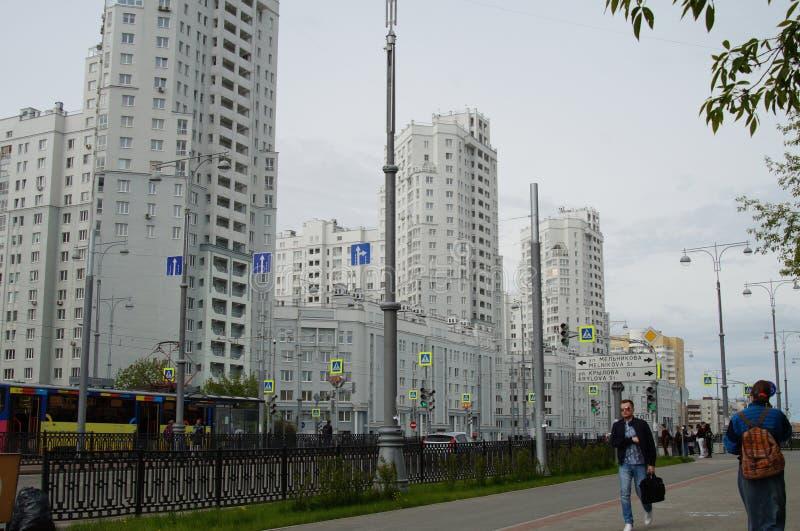 Foto de los fragmentos de nuevos edificios en la calle Tatishchev fotos de archivo libres de regalías