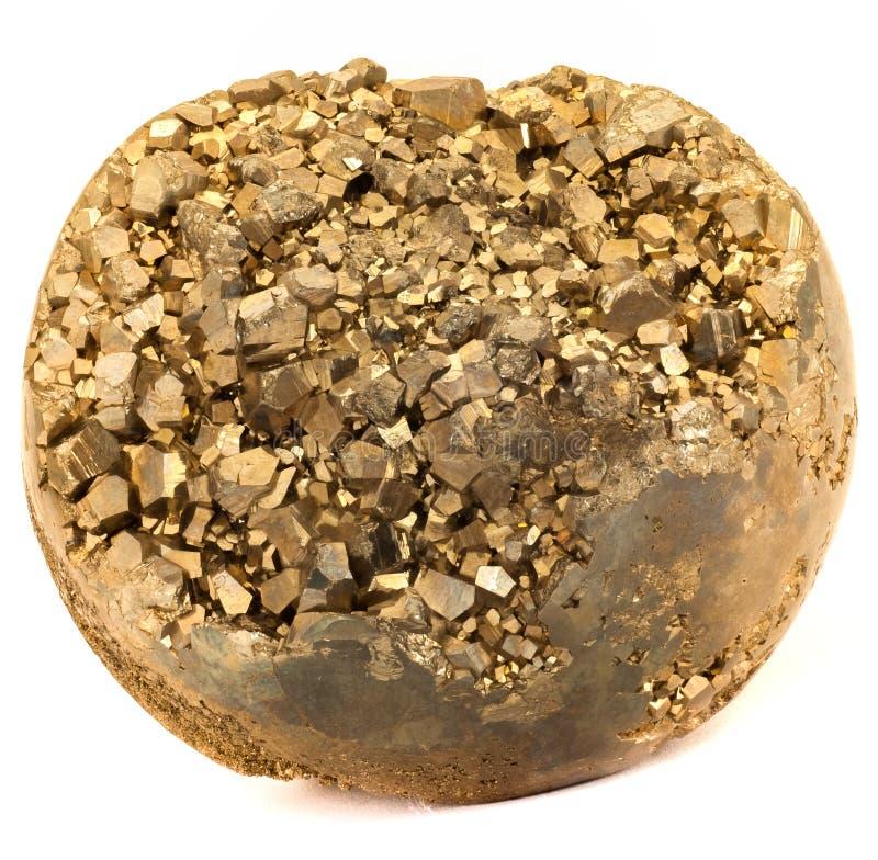 Foto de oro del primer de la piedra de la pirita del color fotos de archivo libres de regalías
