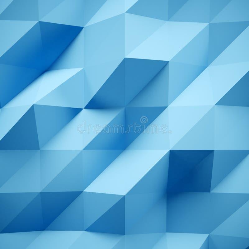 Foto de polígono multicolorido altamente detalhado Baixo estilo poli triangular emaranhado geométrico azul abstraia o fundo ilustração stock