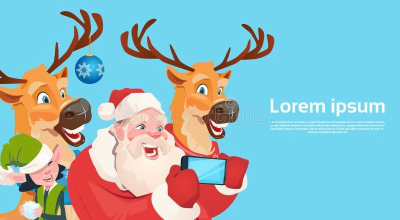 Download Foto De Santa Claus With Reindeer Elfs Making Selfie, Cartão Do Feriado Do Natal Do Ano Novo Ilustração do Vetor - Ilustração de festive, celebration: 80102975