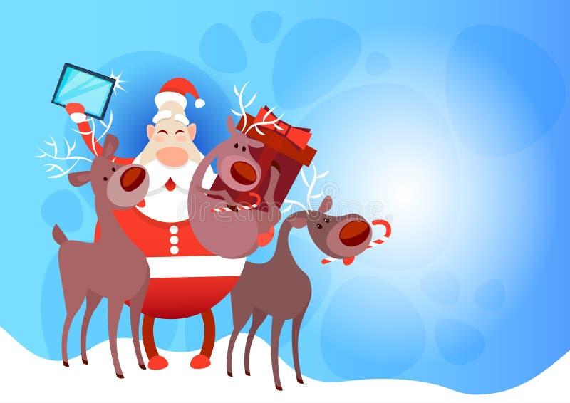 Download Foto De Santa Claus With Reindeer Making Selfie, Cartão Do Feriado Do Natal Do Ano Novo Ilustração do Vetor - Ilustração de noel, decoração: 80101493