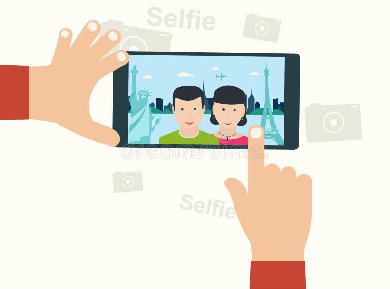 Foto de Selfie en oncept elegante del ¡del teléfono Ð en el fondo blanco Joven stock de ilustración