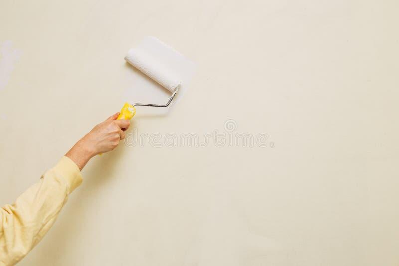 Foto de uma pintura fêmea uma parede com um rolo e uma pintura branca Foto horizontal Copie o espaço foto de stock