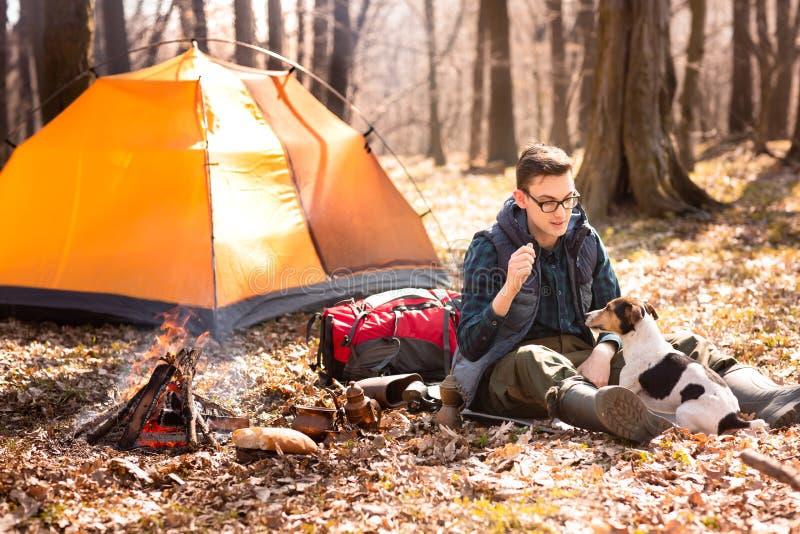 Foto de un turista con un perro, descansando en el bosque cerca del fuego y de la tienda anaranjada fotos de archivo