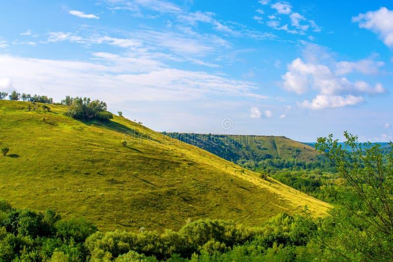 Foto de una colina hermosa y de una hierba verde foto de archivo libre de regalías