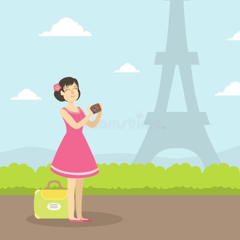 Foto de visita turístico de excursión y que toma turística femenina de la torre Eiffel, muchacha que viaja el las vacaciones de v ilustración del vector