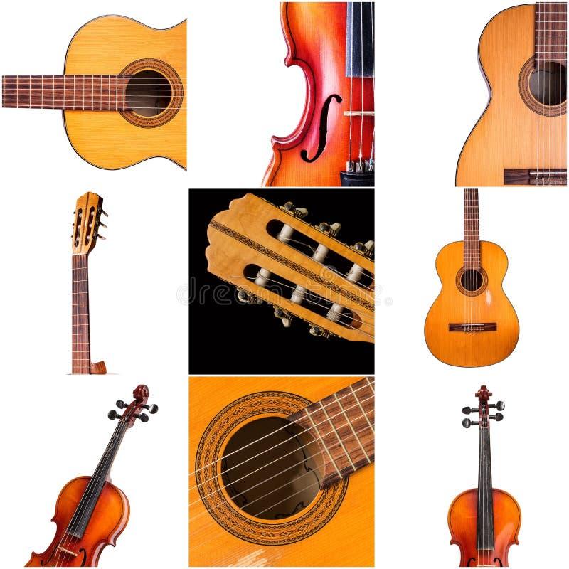 Foto degli strumenti musicali, della chitarra e del violino fotografia stock