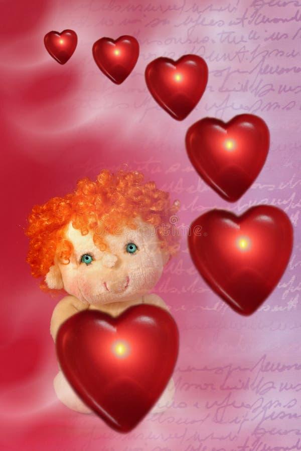 Foto dei cuori di galleggiamento rossi e piccola bambola del Cupid con verde royalty illustrazione gratis