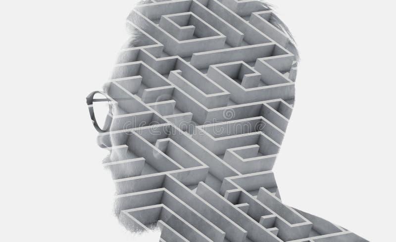 Foto dei vetri dell'avvocato barbuto alla moda e della città d'uso di sguardo Doppia esposizione, fondo del labirinto Bianco isol fotografie stock libere da diritti