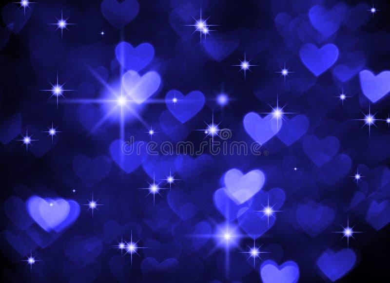 Foto del boke del fondo del cuore, colore blu scuro Festa, celebrazione e contesto astratti del biglietto di S. Valentino fotografia stock