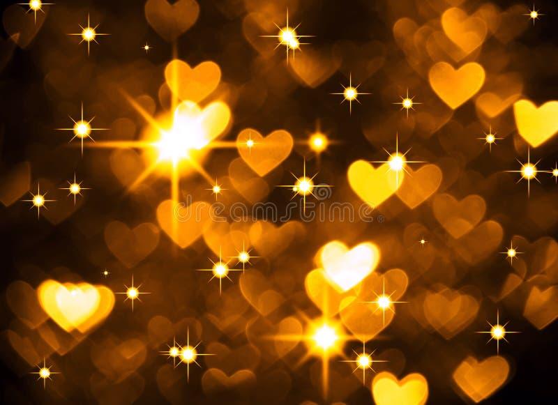 Foto del boke del fondo del cuore, colore giallo scuro Festa, celebrazione e contesto astratti del biglietto di S. Valentino immagine stock