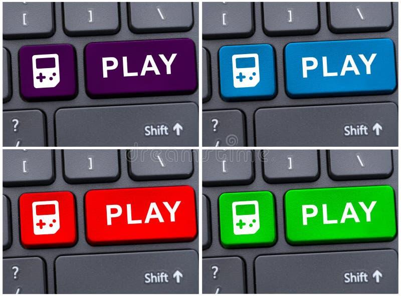 Foto del collage con los botones de reproducción imagenes de archivo