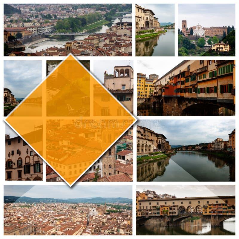 Foto del collage di Firenze, Italia, in 16: formato 9 fotografie stock