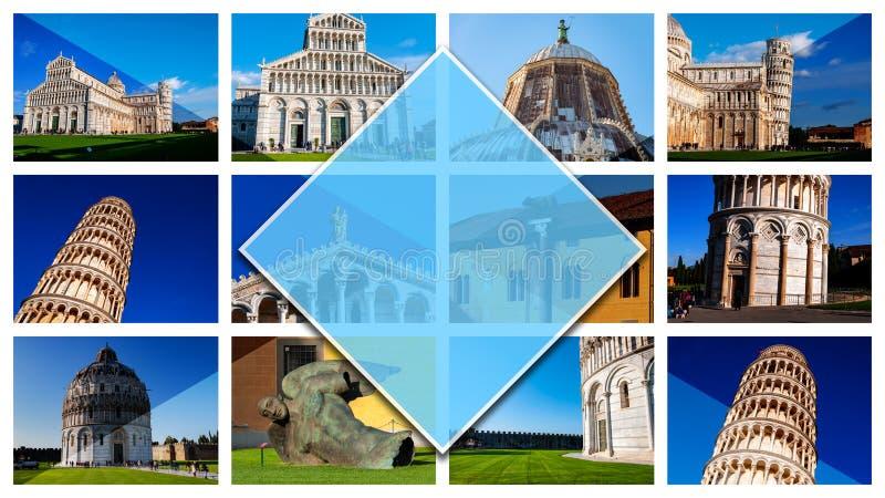 Foto del collage di Pisa - l'Italia, in 16: formato 9 Con la torre pendente in dei Miracoli della piazza Sito di fama mondiale de fotografia stock