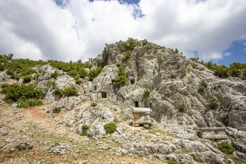 Foto del concepto del viaje Ciudad antigua histórica Mersin/Turquía de Uzuncaburc imágenes de archivo libres de regalías