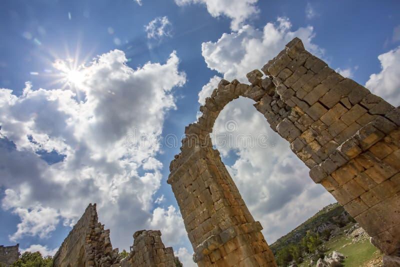 Foto del concepto del viaje Ciudad antigua histórica Mersin/Turquía de Uzuncaburc foto de archivo libre de regalías
