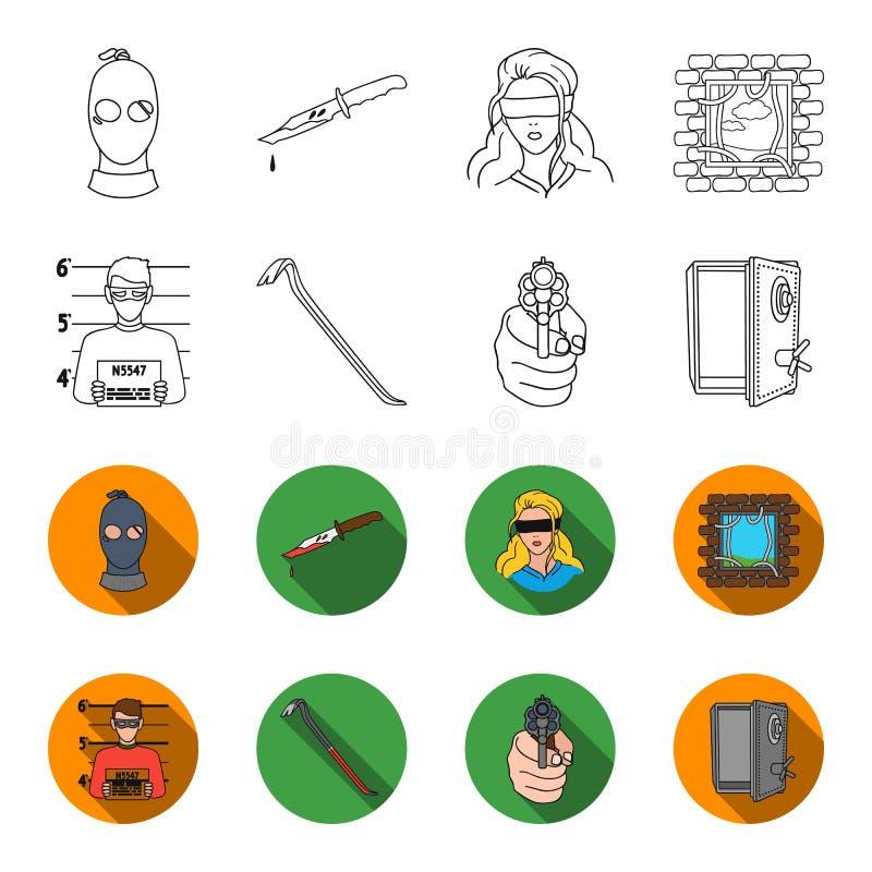 Foto del criminal, pedazo, caja fuerte abierta, arma direccional Iconos determinados de la colección del crimen en el esquema, sí stock de ilustración
