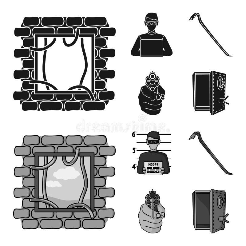 Foto del criminal, pedazo, caja fuerte abierta, arma direccional Iconos determinados de la colección del crimen en el negro, símb stock de ilustración